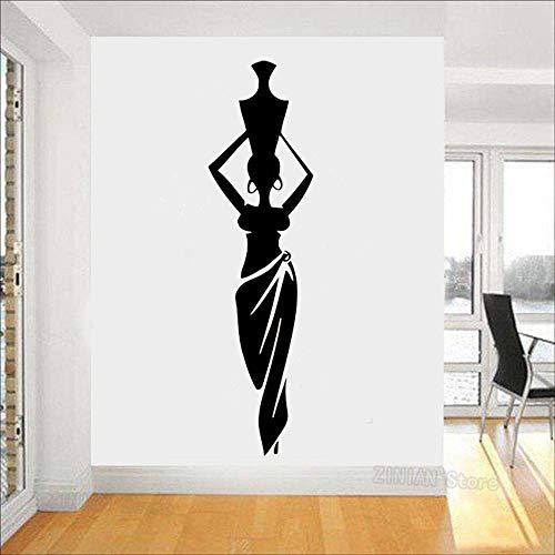 Yaonuli Afrikaanse vrouwen meisjes vinyl muursticker woonkamer cultuur Afrika dansstijl kruik vaas wandsticker huisdecoratie model