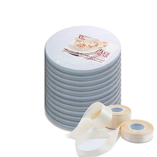 Cake Drums Round 8 Inches - (White, 12-Pack) - Sturdy 1/2 Inch Thick - Professional Smooth Straight Edges - Free Satin Cake Ribbon