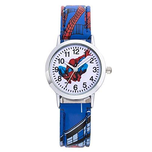 Reloj Niño ZWRY Spidermans Cartoon Kids Relojes 30M Impermeable Patrón Fresco Correa de Cuero Reloj de Pulsera para niños Niños Bebés Regalo Azul
