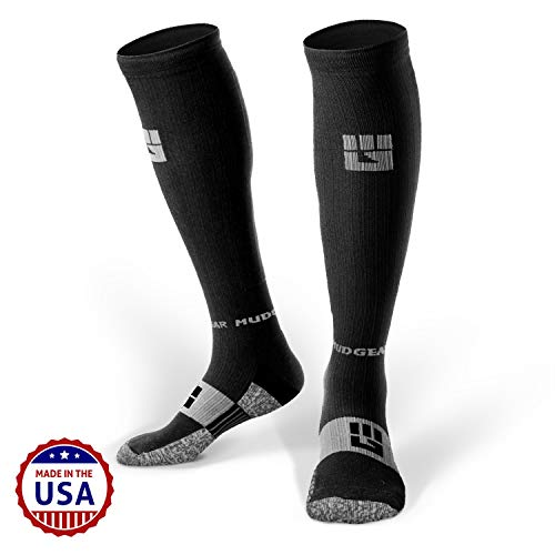 MudGear Premium Compression Socks - Mens & Womens Running Hiking Trail - 1 Pair (Black/Gray - L)