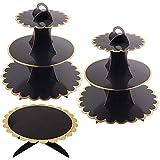 3 Unidades Soporte para Cupcakes Negro de 3 Niveles y 1 Pisos Soporte Tarta, Postre Soporte de Magdalenas de Redondo para Cumpleaños, Fiesta, Baby Showers