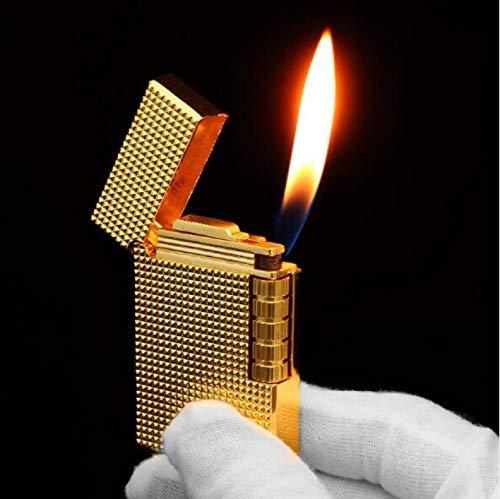 Metal butano Gas encendedor de llama abierta Molienda encendedores inusuales. Sonido brillante. Aparatos de fumar 880-dorado