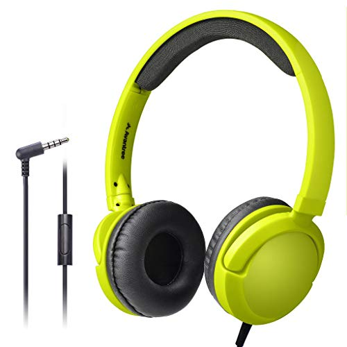 Avantree Superb Sound Wired On Ear Headphones with Microphone, 1.5M / 4.9FT Long Cord with Mic for Adults, Students, Kids, Comfortable Headset for PC Computer, Laptop, Tablet, Phone - 026 Yellow Green