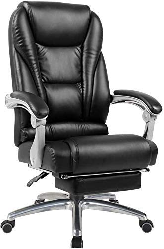 WSDSX Office Chairs Computer Chair High Back Computer Chair with Footrest Reclining Boss Chair Double Thick Cushion Ergonomic Executive Office Chair for Study Office (Color : Black)