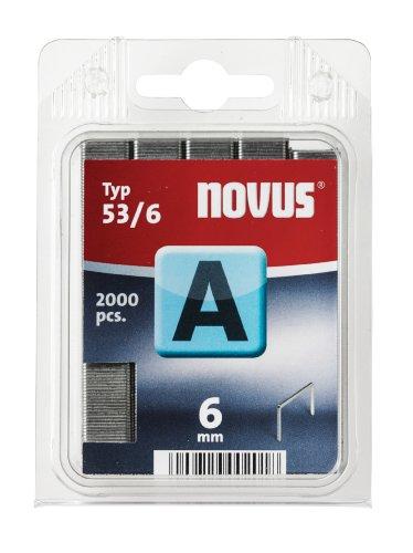 Novus Feindrahtklammern 6 mm, 2000 Tacker-Klammern vom Typ A53/6, Befestigung von Stoffen, Textilien, Holzleisten, Draht