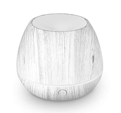 LEMON + Co. Mini Cool Mist Air Humidifier Ultrasonic Aroma Essential Oils Diffuser with Multiple Lighting Options, White Wood Grain, 150 ml