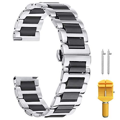 20mm Correa de Reloj de Metal de 20mm para Hombres Banda de Reloj de Pulsera de eslabones de cerámica Hombre en Dos Tonos Plata y Negro Sólido Acero Inoxidable 316L Correa de Reloj de