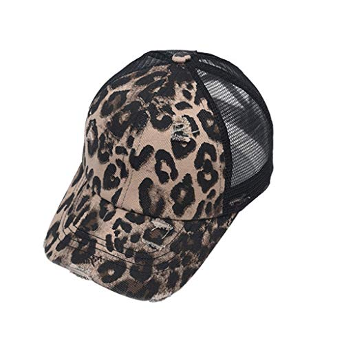 Kstare Visor Cap Sommer Outdoor Sonnenschutz Hut Leopard Drucken Baseball Cap Einstellbar Ponycap High Ponytail MüTze Sonnenhut