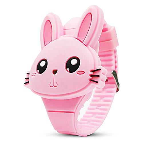 Reloj Digital de Unicornio Conejo para niñas pequeñas, Tiempo de Aprendizaje Lindo de Dibujos Animados para niños niñas Regalos de cumpleaños (Conejo-Rosa)
