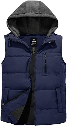 Wantdo Men s Quilted Cotton Puffer Vest Sleeveless Hooded Winter Jacket Dark Blue S product image