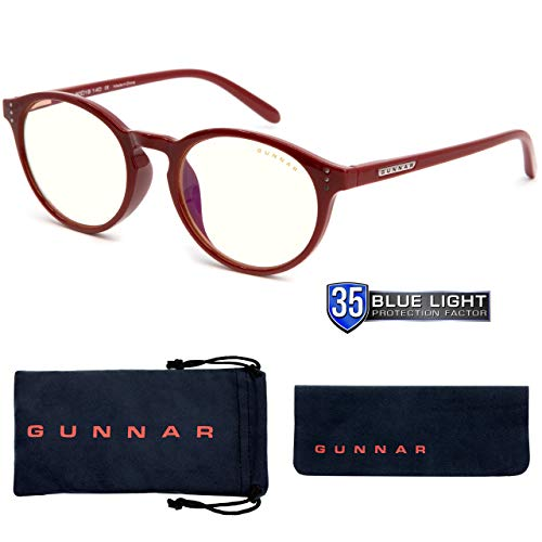 Gaming Glasses | Blue Light Blocking Glasses | Attache/Dark Red by Gunnar | 35% Blue Light Protection, 100% UV Light, Anti-Reflective To Protect & Reduce Eye Strain & Dryness