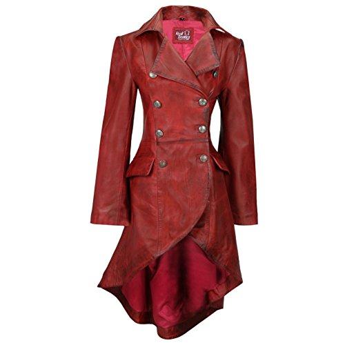 Xposed Chaqueta gótica de cuero negro para mujer, estilo victoriano con encaje trasero, color Rojo, talla X-Large