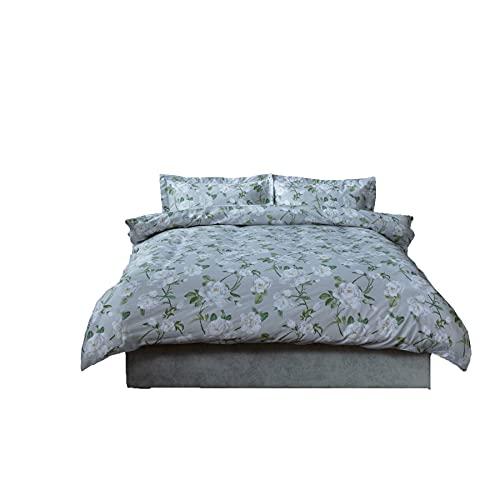 Belledorm Mishka - Juego de funda de edredón y funda de almohada de Oxford, diseño floral, 100% algodón, 200 hilos, multicolor