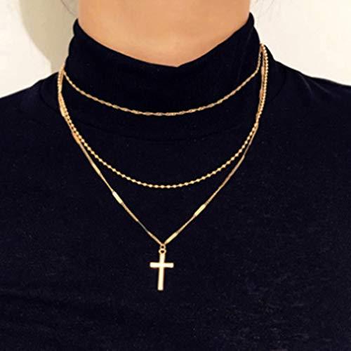 Zehory - Collar de cuentas con colgante de oro con cruz multicapa Boho cadena joyería para mujeres y niñas