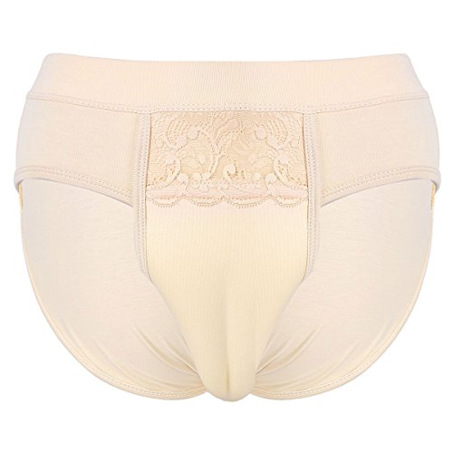 Agoky Herren Unterhosen Crossdresser Slip Briefs Unterwäsche Versteckt Gaff Shapewear Trnssexuelle Panty Kamelzehe Schlüpfer M-XXL Nude M