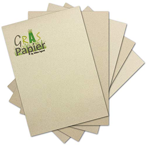 50x ÖKO Briefpapier aus Graspapier DIN A4 - Braunes Recycling Papier 120 g/m² - Umwelt Bastelpapier für Einladungen oder Menükarte - Glüxx Agent