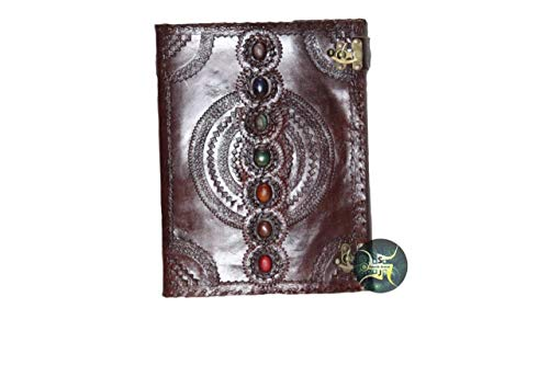 Leather Journal Seven Chakra Medieval Stone Embossed Handmade Book of Shadows Notebook Office Diary College Book Poetry Book Sketch Book 10 x 13 Inches by Swastik Leather