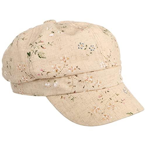 Lipodo Flowers Leinen Ballonmütze Damen - Schirmmütze mit Leinen - Schildmütze mit Blumenmuster - Bakerboy-Mütze mit Stretchband - Damencap Frühjahr/Sommer beige S (55-56 cm)