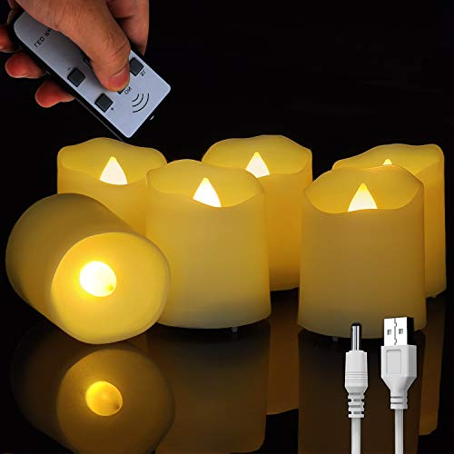FREEPOWER Rechargeable Realistic Flameless Flickering Tea Light Candles Battery Operated, with Remote Control Cycling 24 Hours Timer, for Romantic Home, Christmas Decoration,Pack of 6.