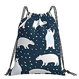 Nicegift Lindo oso polar simple animal ligero y conveniente mochila portátil con cordón con bolsillo impermeable grande