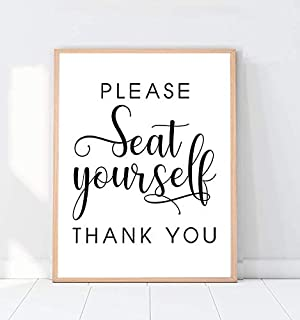 Please Seat Yourself, Bathroom Wall Decor, Quote Wall Art, Restaurant Decor, Bathroom Sign Poster, Wedding Seating Print, Washroom Design Art - 8x10 - Unframed