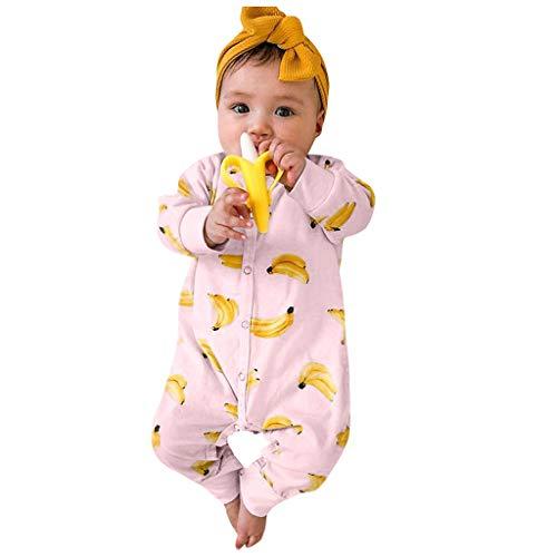 LEXUPE Baby Strampler Jungen Mädchen Schlafanzug Baumwolle Overalls Säugling Spielanzug Baby-Nachtwäsche(Rosa,70)