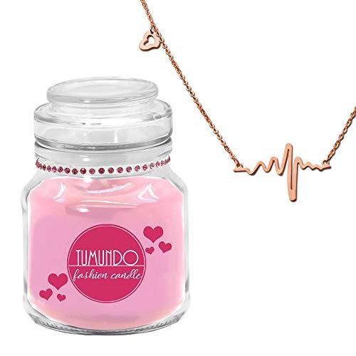 tumundo Fashion Candle Schmuck-Kerze Valentinstag Liebe Muttertag Geburtstag Duftkerze Halskette Herz-Schlag Frequenz, Variante:rosé Gold