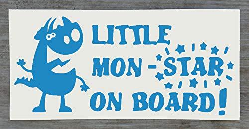 Sticker Monster on Board Little Mon - Star on Board - Sticker amusant Baby on Board - 9 cm x 20 cm - HSS012, Vinyle, bleu clair, Single Mon-Star