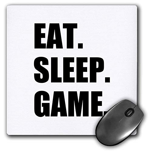 Eat Sleep Game Fun Gifts for Gamers Black Text Video Pro-Gamer Mouse Pad
