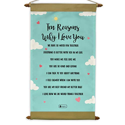 Indigifts Valentine Gifts for Girlfriend Ten Reason to Love Scroll Card 17x9.5 Inches - Birthday Gifts for Boyfriend, Love Gift...