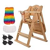 LAZ Trona de madera Altura ajustable del bebé Trona del niño Alimentación comedor asiento seguro Gran adecuados durante 6 meses a 5 años de bebé