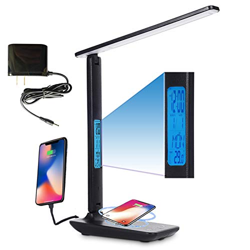 Desk Lamp with Wireless Charger, 10W USB Charging Port, Adjustable 5 Levels Dimmable Lighting for...