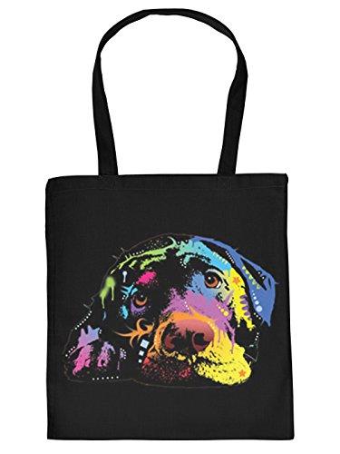 Cool Bedruckte Stofftasche/Jutebeutel/Einkaufstasche in schwarz mit trendy Neon Motiv: toller Labrador bunt Gemustert Treue Augen
