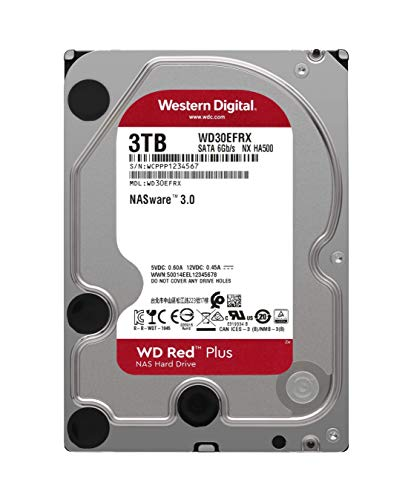 "Western Digital 3TB WD Red Plus NAS Internal Hard Drive HDD - 5400 RPM, SATA 6 Gb/s, CMR, 64 MB Cache, 3.5"" - WD30EFRX"