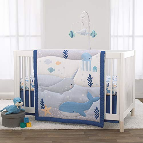 Little Love by NoJo Underwater Adventure - Narwhals and Whales Navy, Grey and Light Blue 3 Piece Crib Bedding Set- Comforter, Fitted Crib Sheet, Dust Ruffle