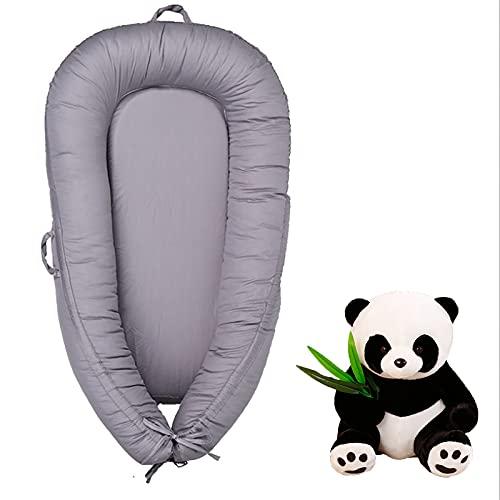 Nido de bebé portátil Cuna Lavable a máquina Imitación de diseño Uterus Necesidades para el bebé recién Nacido Viene con una muñeca Panda Regalo recién Nacido,Gris