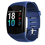 HSZH Bracelet Intelligent 1,3 Pouces écran Couleur 200mAh Bluetooth Moniteur de fréquence Cardiaque Pression artérielle Sport Smart Touch Montre Blueberry Bleu