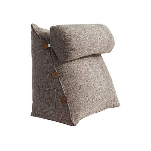 J-Kissen Das perfekte Sofakissen | Lesekissen | Keilkissen für Bett und Couch | Rückenstütze | Lendenkissen, herausnehmbar, 42X45X22CM (Farbe : Braun)