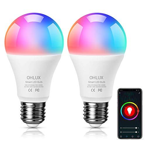 OHLUX Smart WiFi LED Light Bulb, Works with Alexa and Google Home Assistant (No Hub Required), RGBCW Multi Color Changing Bulb, A19 E26 7W(60W Equivalent), 2-Pack
