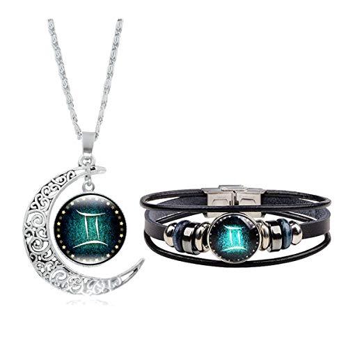 Dcfywl731 12 Constellation Necklace Bracelet Weave Multilayer Leather Bracelet and Moon Pendant Necklace Jewelry Set for Women Men Girls (Gemini 2)