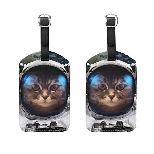 Chic Houses 2030941 - Targhetta per bagagli con gatto, astronauta, fantasia, scienza, spazio, pianeta, valigia, bagaglio a mano, con cinghia nera