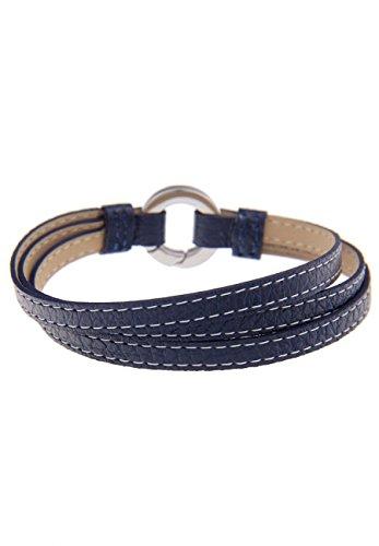 Leslii Damen-Armband Premium echtes Leder-Armband Stahlarmband Edelstahl-Armband blaues Armband Länge 19cm in Blau Silber