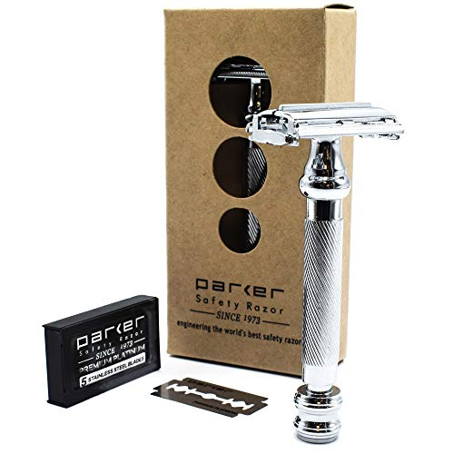 Parker 99R - Long Handle Heavyweight Butterfly Open Double Edge Safety Razor for Men & 5 Premium Platinum Double Edge Razor Blades