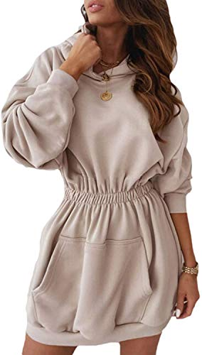 CYSTYLE Damen Kapuzenpullover Pullover Shirtkleid Hoodie Kleid Lange Tops Langarm Sweatshirt Mini Pulli Sweatjacke (Khaki, M)