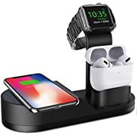 Deszon Apple Watch Wireless Charger Stand, Compatible with iWatch Series SE 6 5 4 3 2 1, AirPods Pro/ 2/1 and iPhone Series 12 SE 11 11 pro 11 Pro Max Xs X Max XR X 8 8P (No Adapter) (Black)