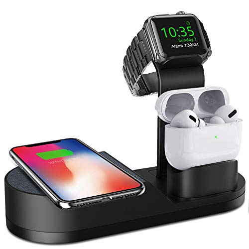 Deszon Wireless Charger iWatch Stand Compatible with iWatch Series SE 6 5 4 3 2 1, AirPods Pro Airpods and iPhone Series 12 SE 11 11 pro 11 Pro Max Xs X Max XR X 8 8P(No Adapter) Black