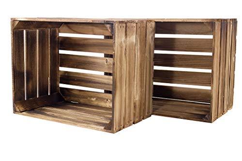 Kontorei® geflammte/braune Apfelkisten 50cm x 40cm x 30cm 2er Set Holzkisten Weinkisten Obstkiste Kiste Box