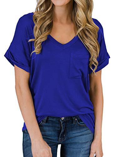 MIHOLL Women's Short Sleeve V-Neck Shirts Loose Casual Tee T-Shirt (06_...