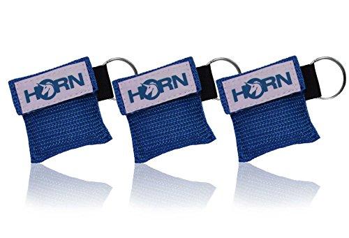 Horn Medical Notfall-Beatmungstücher im Schlüsselanhänger, Horn-Key, 3er Set, Blau