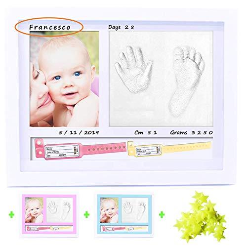 BELF1® marco huellas bebe Regalos originales para bebes recien nacidos con nombre personalizados,datos de nacimiento y huella bebe pie y manos, para padres primerizos y para mamas embarazadas Mod 2021
